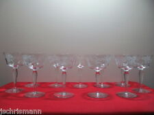 Crystal Optic Bulbous Stem Tall Champagne Sherbet Glasses  Floral Cut  Eleven