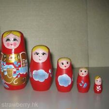 5 in 1 Wooden Russian Nesting Dolls Matryoshka Toy Baby Child Adult Unisex Toy