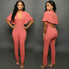 Sexy Women short sleeve V neck Bandage Bodycon Jumpsuit Romper Trousers Clubwear