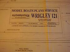 VINTAGE MODEL BOAT PLAN WRIGLEY 121 PUSH PADDLE TUG MM2076 2012