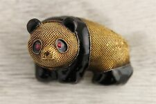 VTG CHINESE EXPORT STERLING SILVER GOLD PANDA FIGURAL MESH BROOCH RUBY ENAMEL -9