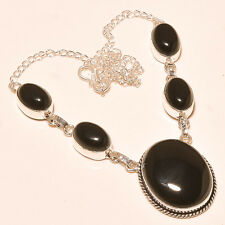 NATURAL BLACK ONYX STONE 925 SILVER NECKLACE  HANDMADE JEWELRY