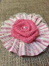 """4"""" Burlap Lace Flowers Pink Ticking Girl Baby Shower Wedding Country Table"""