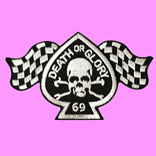 Death Or Glory 69 Skull Bone Winner Flag Spades Iron On Embroidered Patch