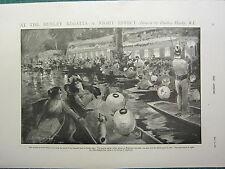 1900 VICTORIAN PRINT ~ HENLEY REGATTA NIGHT EFFECT HOUSEBOATS