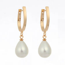 Womens 18K Gold Filled Teardrop Pearl Drop Dangle Earrings Fashion Party Jewelry