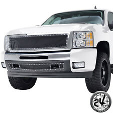 07-13 Chevy Silverado 1500 Rivet Black SS Wire Mesh Grille With Chrome Shell