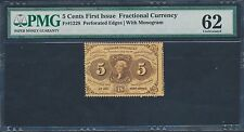 Fr1228 1St Issue Fractional Currency 5¢ Perf Edges Monogram Pmg 62 Unc Bt3356