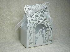 Bomboniera segnaposto matrimonio, scatolina completa di confetti e bigliettino