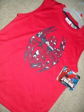 NEW MARVEL ULTIMATE SPIDER-MAN COLLAGE BOYS LARGE 10/12 MUSCLE RED TANK TOP NWT