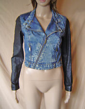 WOMENS 'DENIM CO' BLUE DENIM & BLACK FAUX LEATHER BIKER JACKET UK SIZE 8 EU 36