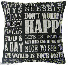 "DON'T WORRY BE HAPPY BLACK  BEIGE COTTON BLEND CUSHION COVER 18"" - 45CM"