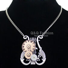 Victorian Celtic Harp Lyre Watch Clock Hand Gear Cog Steampunk Chain Necklace