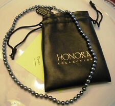 "Honora Cultured Black Pearl Sterling Silver 18"" Necklace"