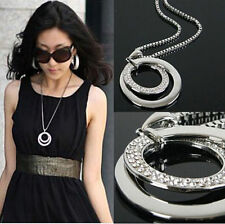 New Crystal Statement Long Chain Circle Pendant Necklace Jewelry Silver Plated
