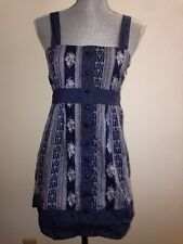 Cute SLEEVELESS POLKA DOTS PAISLEY MINI DRESS nautical rockabilly heart pinup L