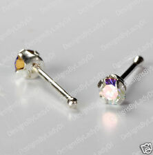 "Silver Nose Stud Bone Ring Tiny ""Claw-Set"" Rainbow 2mm Gem Sterling Body Jewelry"