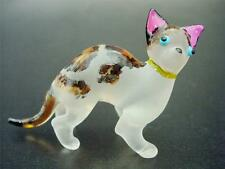 Glass CAT, KITTEN, Painted & Frosted Glass Ornament, Collectors Item Animal Gift