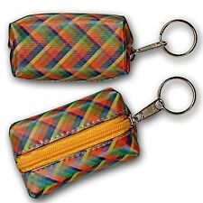 ColorChanging Lenticular Rainbow Lattice Plaid Coin Purse Keychain #R-035-GLOBI#