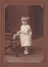 Early 1900's Photo in Folder of Toddler Girl & Her Stuffed Toy Puppy
