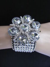 New women silver big flower fashion black leather bracelet crystals rhinestones