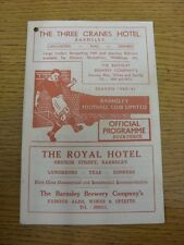 03/12/1960 Barnsley v Bury  (Light Crease, Punched Hole To Corner). Footy Progs/