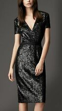SZ 14US,16UK BURBERRY LONDON BLACK SEQUIN CROSSOVER DRESS NWT $1295