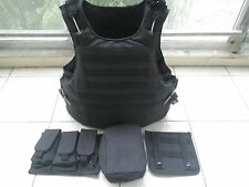 Black Combat Tactical Soft Bullet proof vest IIIA + 2PCS III ceramic plates