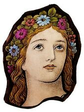 Flower Girl stained glass fragment preraphaelites, kilnfired, glass painting