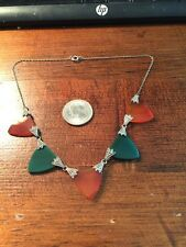 Antique Art Deco Sterling Marcasite Carnelian Green Onyx Chrysoprase  Necklace