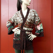 Vintage 70s Hippie Sweater Jacket Brown fleck Boho Hand Knit Bell Slv Cardigan L