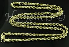 14k solid yellow gold hollow rope chain necklace italian 3.30grams #1228 18inch