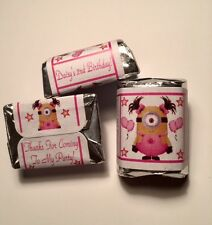 30 Baby Girl Minion Birthday Party Or Baby Shower Hershey Nugget Stickers Pink