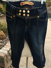 APPLE BOTTOMS ADORABLE WOMEN'S Sz 5/6 BLUE w/GOLD DENIM CROP CAPRI JEAN