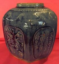 ANTIQUE CHINESE MING DYNASTY BLUE GLAZED HEXAGONAL SCENES 15TH-16TH C ESTATE