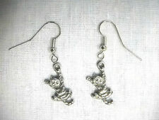 NEW HANG IN THERE KITTY CAT STRIPED TABBY CHARMS ANIMALS CATS PEWTER EARRINGS
