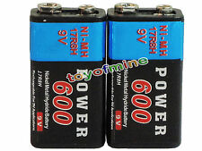 2x Durable 9V 9 Volt 600mAh Black Power Ni-MH rechargeable PPS