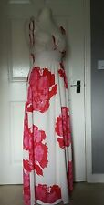 DKNY JEANS Designer Off White Floral Print Spagetti Straps Maxi Dress Size UK 6
