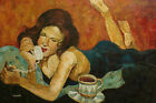 Contemporary Oil Painting of Lady Laid on Bed Talking on Phone Portrait 24x36""