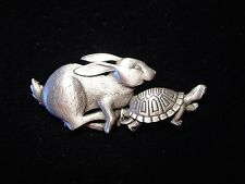 """JJ"" Jonette Jewelry Silver Pewter 'Hare Racing Tortoise' Pin ~ Who will win?!?"
