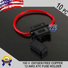 10 Pack 12 Gauge ATC In-Line Blade Fuse Holder 100% OFC Copper Wire Protection