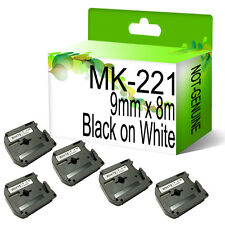 5 x Compatible Brother MK-221 9mmx8m Tape For P-touch PT-85 PT-90 PT-100