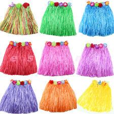 Kids Flower Party Dress Hawaiian Hula Beach Dance Costume 2-5Y Grass Skirt