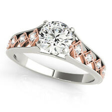 Halo Two-Tone Diamond Engagement Ring In 14k Solid Rose & White Gold 5/8 Carat