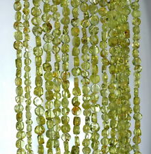 4MM  PERIDOT GEMSTONE  GRADE A GREEN FLAT ROUND NUGGET LOOSE BEADS 14""