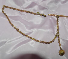 ANTIQUE WATCH FOB CHAIN WITH SMALL BASKETBALL CHARM