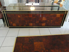 CHIC MODERN 70s BRASS & CHROME WILLY RIZZO OLIVE WOOD BURL MIRRORED CREDENZA