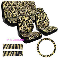Girly CAR SEAT COVERS ZEBRA BLACK BEIGE ZEBRA in 11 Pieces Valentines Day Gift