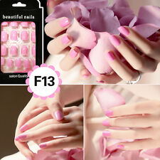 24X Nail Tips Artificial False Acrylic Design Fake French Full Nails Art Set GS
