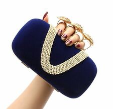 WOMENS VELVET SUEDE DIAMANTE 4 RING CLUTCH BAG WEDDING PARTY BLACK RED PINK BLUE
